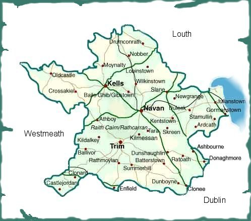 Map Of Ireland With Towns And Counties.County Meath Ireland Ireland Genealogy Projects Igp